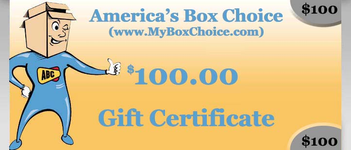 ABC (www.MyBoxChoice.com) $100 Gift Certificate